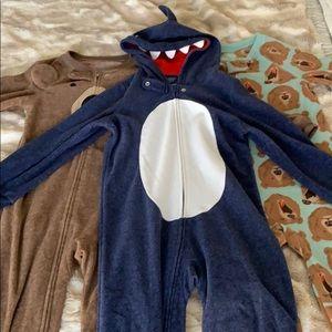 3 fleece zip up onesies carter